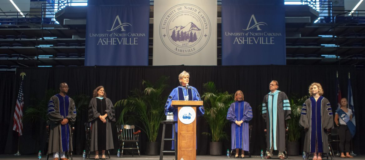 UNC Asheville Chancellor Cable on stage at Convocation 2018