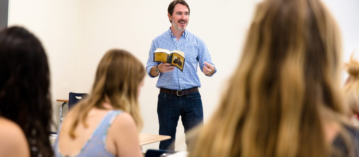 Wiley Cash speaking to students at UNC Asheville
