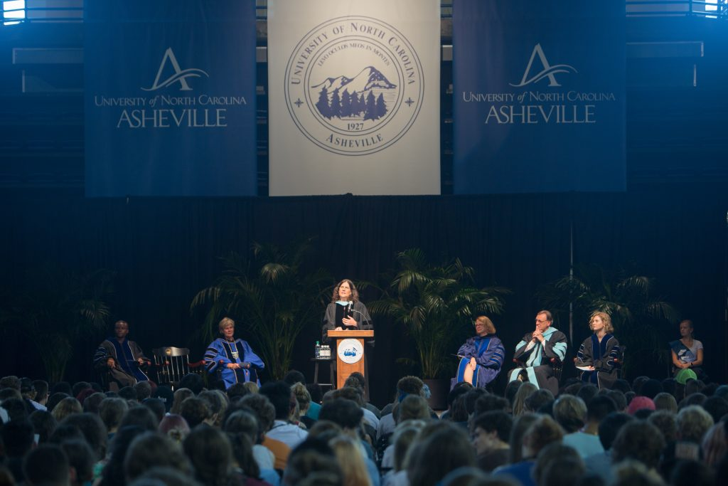 Professor of Education Nancy Ruppert addresses students on stage at Convocation 2018
