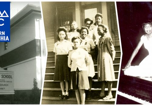 Conference poster features historical photos of Allen High School, students, and Nina Simone
