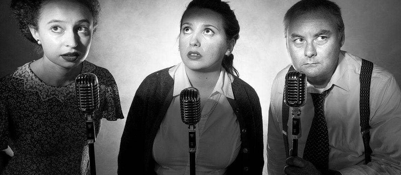 Actors in front of microphones