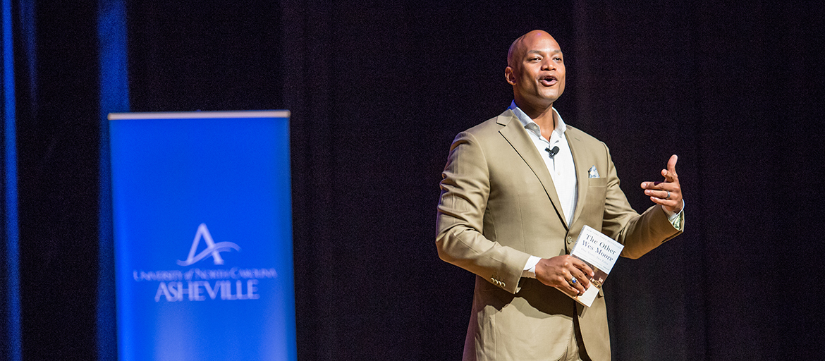 Wes Moore, speaking at UNC Asheville's Lipinsky Auditorium