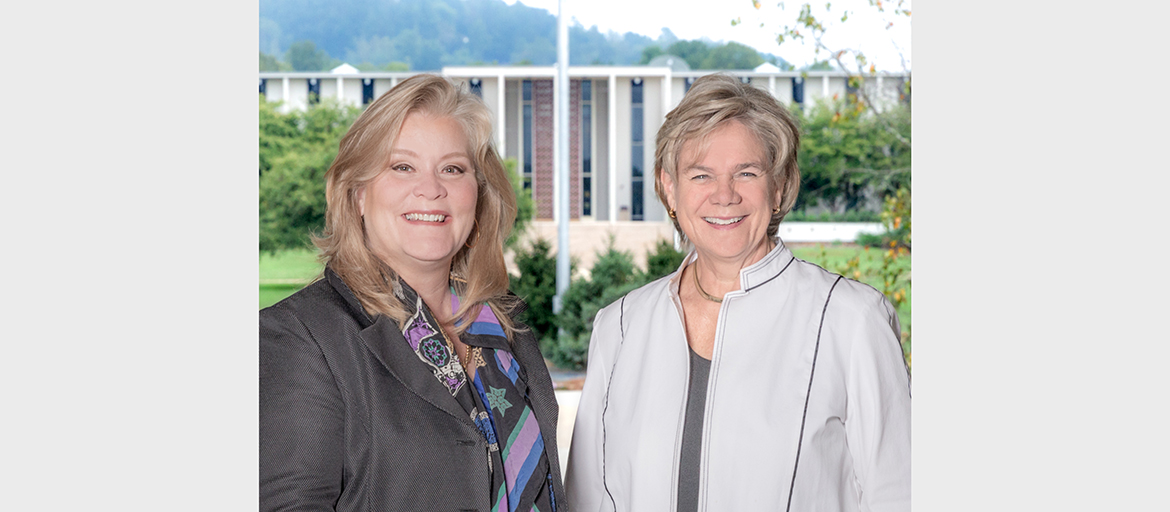 Center for Craft Executive Director Stephanie Moore and UNC Asheville Chancellor Nancy J. Cable