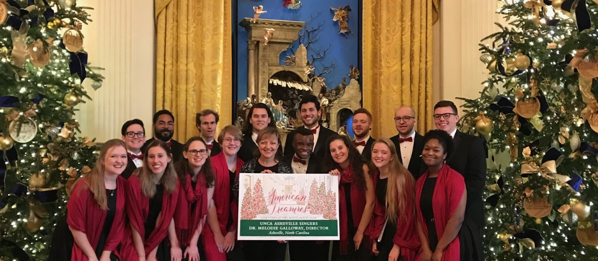 singers pose at the White House