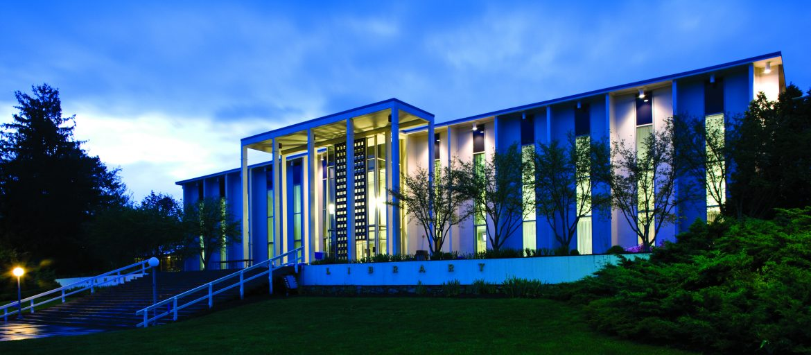 Ramsey Library at dusk