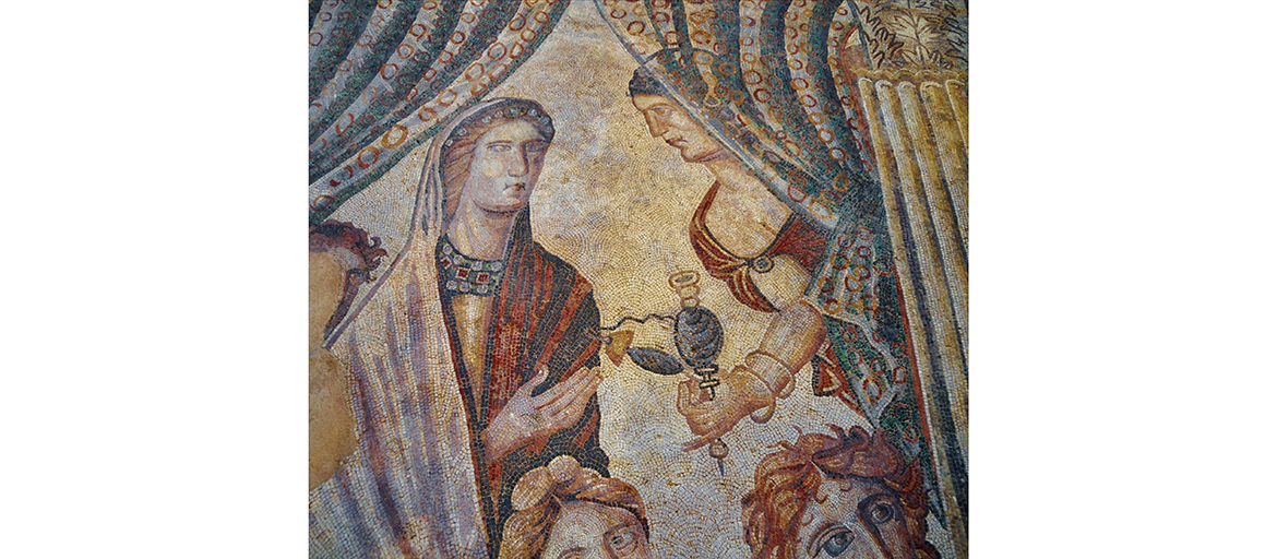 Detail of a vast mosaic showing Achilles on Skyros, at the Villa of La Olmeda, Spain, that depicts textiles being worn and as curtains