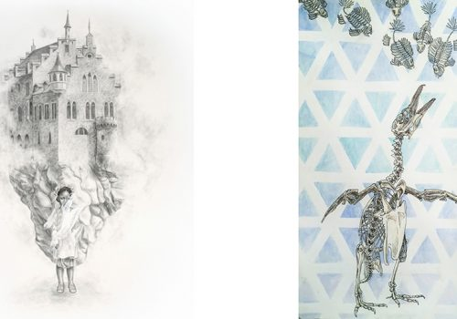 Left: Graphite and Gesso on paper by Gillian Mauer. Right: Ink and watercolor by Addie Starbird