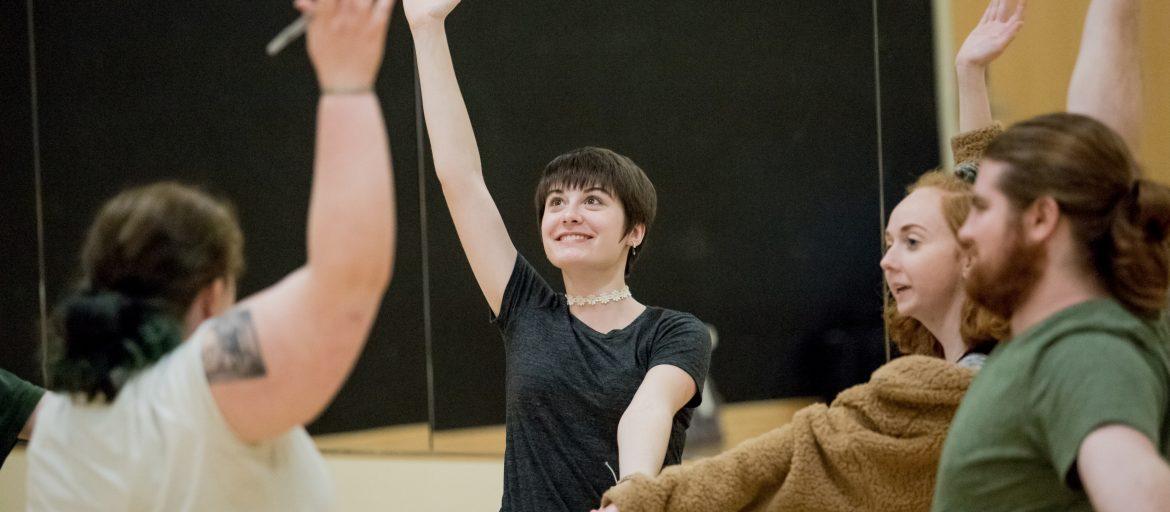 rehearsing students: Connor Harmsworth, Lea Gilbert, Sarah Sheek, Dakota Mann