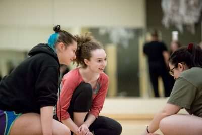 Megan Almond, Morgan Fuller, Madelyn Depodesta rehearsing