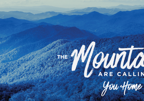 photo of Blue Ridge Mountains with text saying