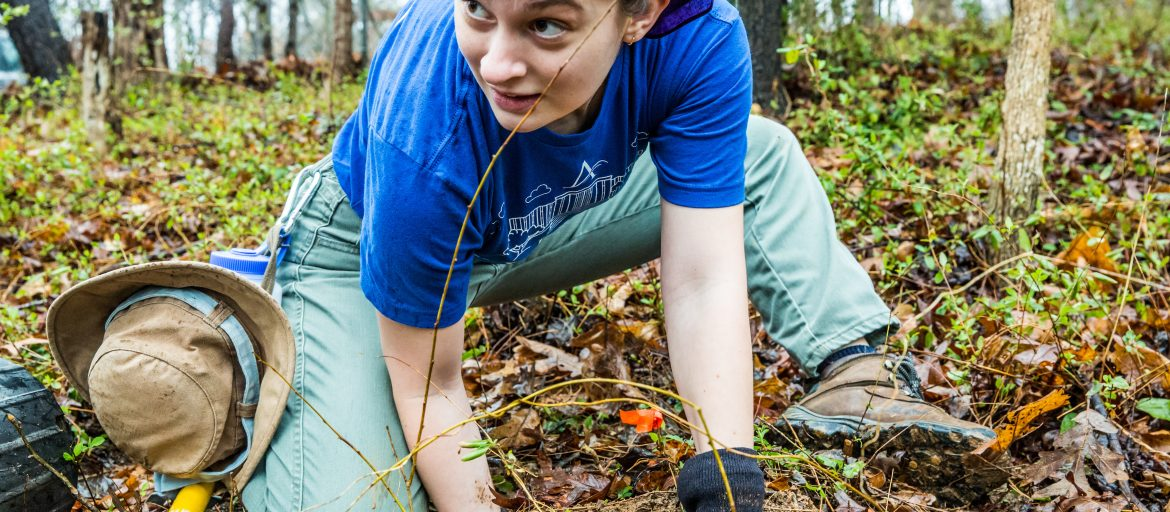 a student digs in the dirt