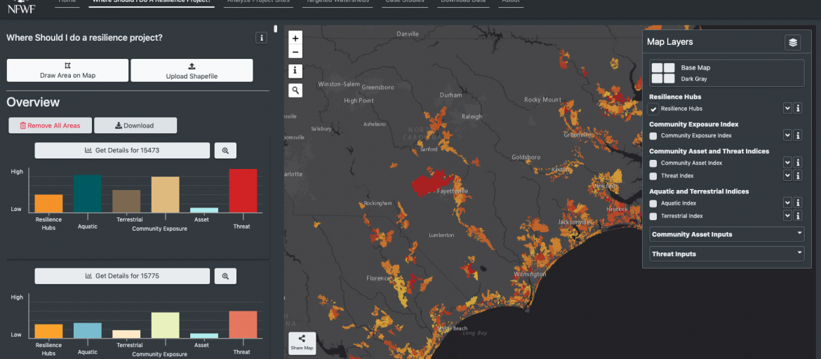 Screenshot of the Coastal Resilience Evaluation and Siting Tool