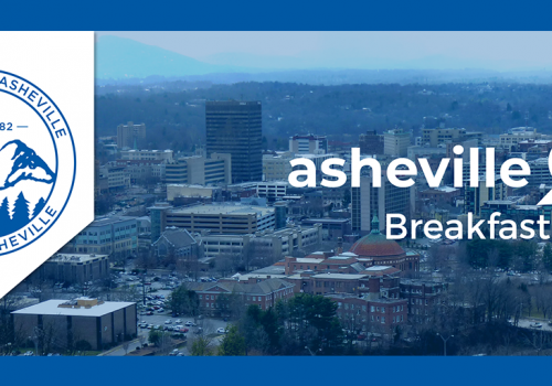 aerial photo of Asheville with event info