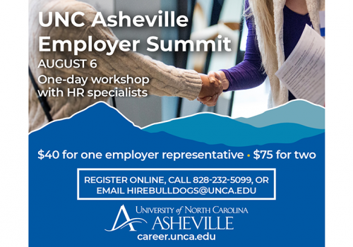 Image of student and employer shaking hands along with event details