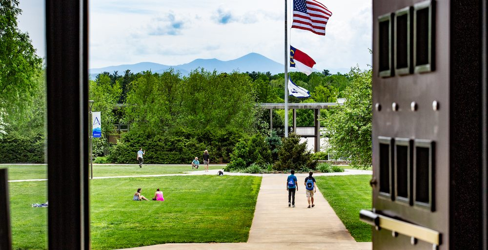 The Quad and Mount Pisgah from Ramsey Library steps.