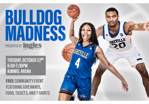 Poster repeats event details with photo of a women's and men's player in uniform hold basketballs