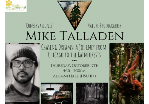 Poster has event time, location and title, photo of the speaker, and his photos of a jungle, an orangutan, and a highway scene as seen from a car window