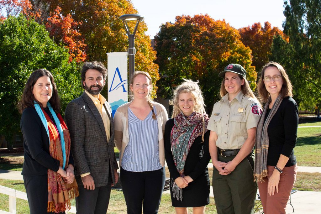 From left, Nancy Ruppert and Evan Couzo of UNC Asheville's education faculty, students Eimly Avery and Julie Newmark, alum Amy Kinsella, and Alison Ormsby of the environmental studies faculty