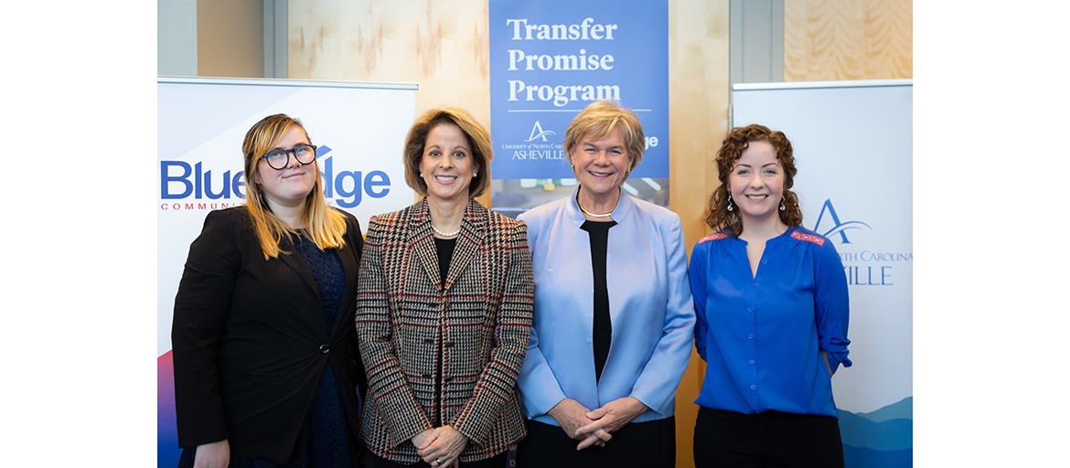 Blue Ridge Community College Transfer Coordinator Kirsten D. Hobbs and President Laura Leatherwood with UNC Asheville Chancellor Nancy J. Cable and Assistant Director of Admission Lindsey Prather at the signing of the Blue Ridge Transfer Promise Program at UNC Asheville.
