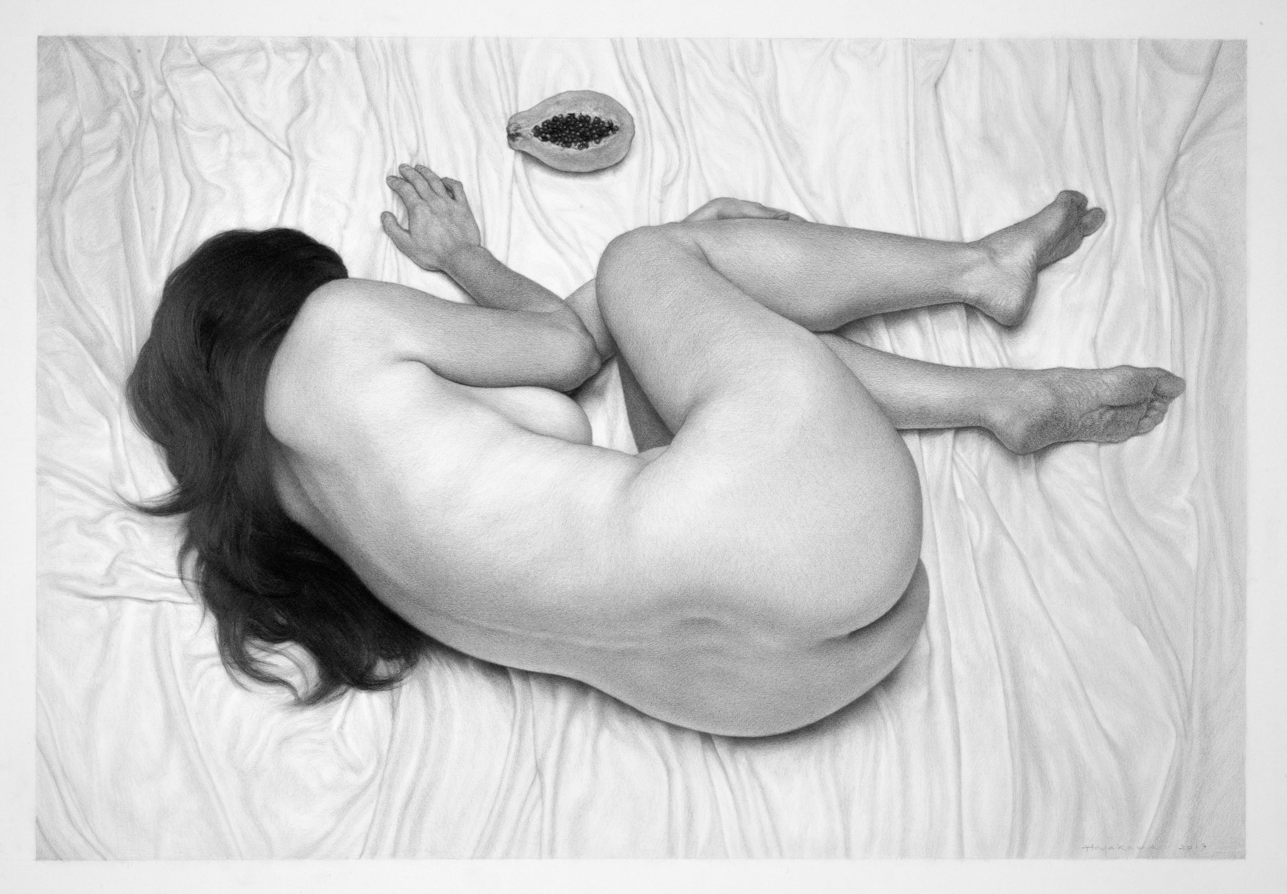 drawing of nude woman curled up on the floor