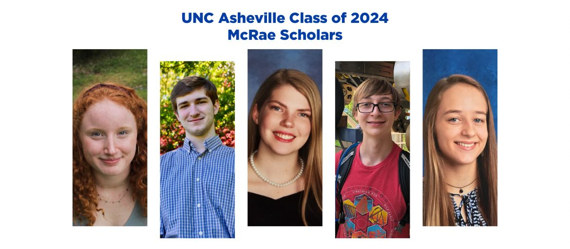 photos of five McRae scholars with headline of article