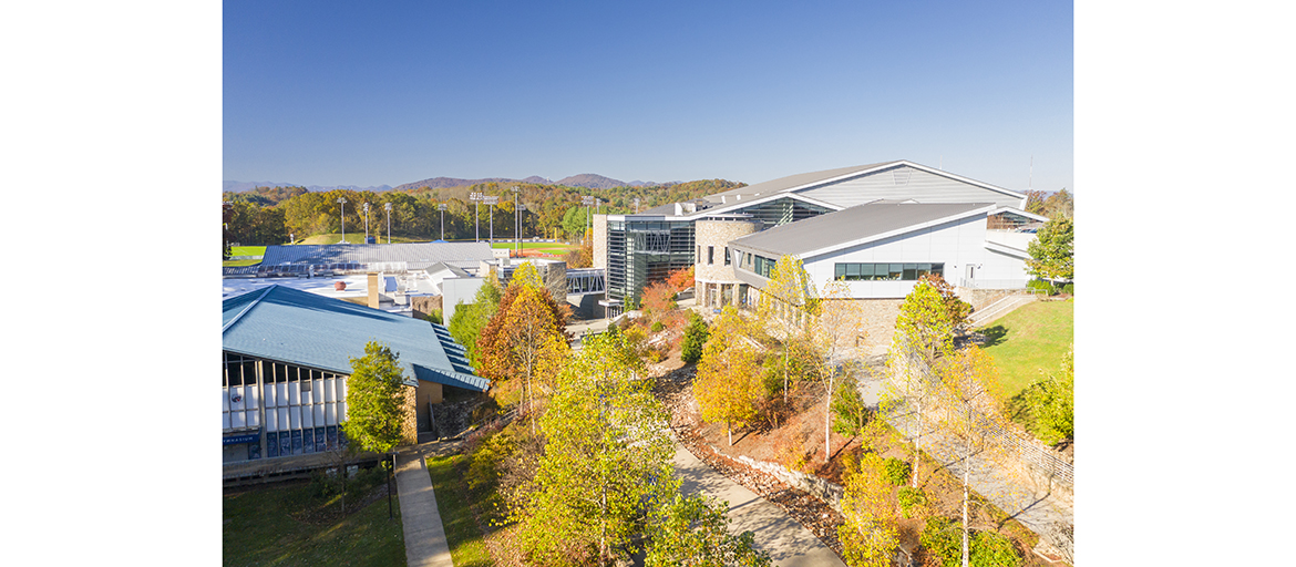 aerial view of UNC Asheville's Sherrill Center, home of the N.C. Center for Health & Wellness