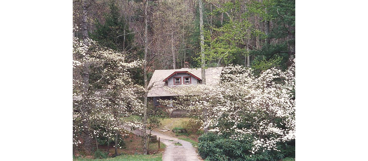 exterior of Wilma Dykeman home and grounds in spring