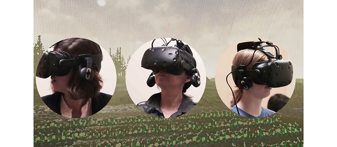 images of people wearing VR goggles superimposed over a stylized rural landscape