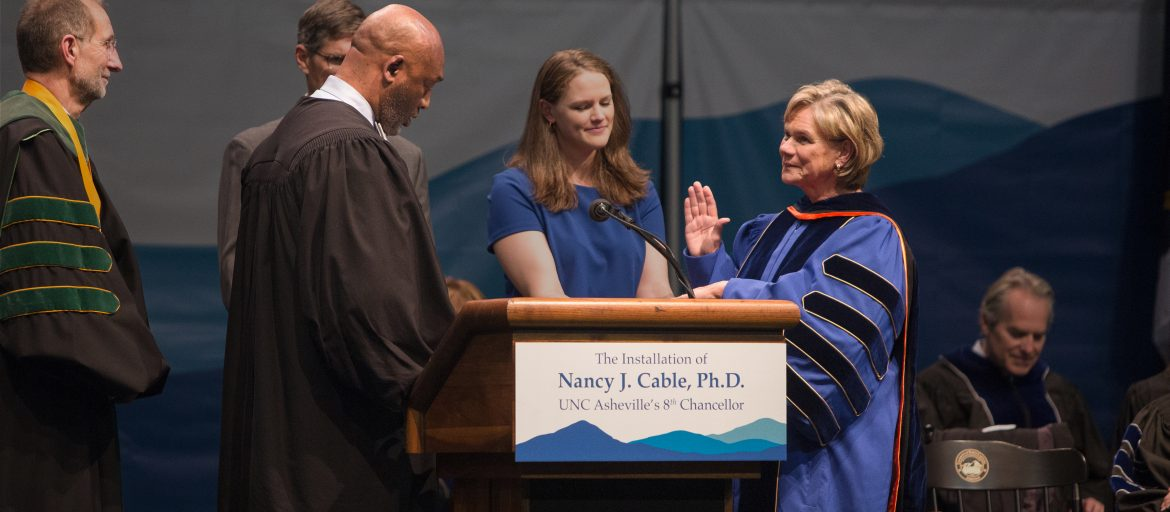 Chancellor Cable getting sworn in as UNC Asheville's 8th Chancellor
