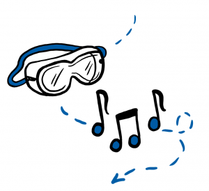 illustration of goggles and music notes