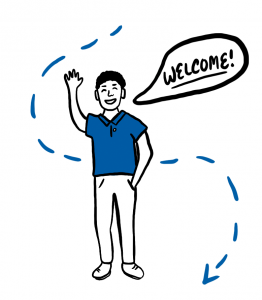 "illustration of a person waving and saying ""welcome"""