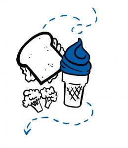 Illustration of ice cream cone, sandwich, and broccoli