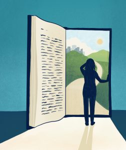 Illustration of a person standing in a doorway that's actually an open book