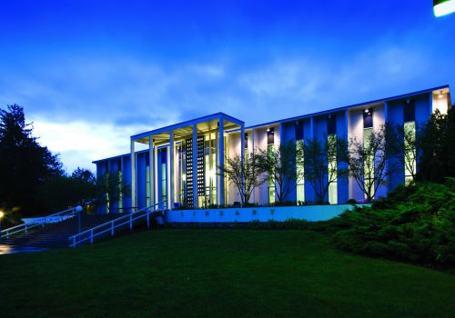 UNCA Asheville's Ramsey Library at dusk.