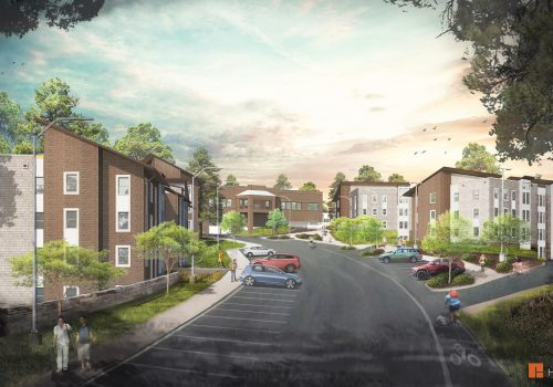 Rendering of The Woods apartment-style residence halls from Founders Drive