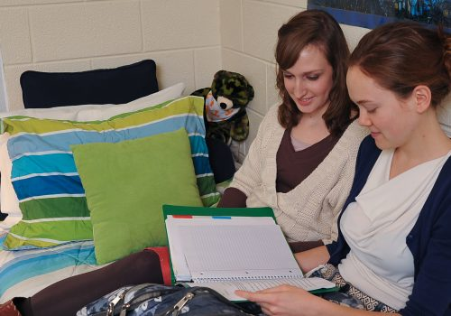 Two students sitting on a bed studying