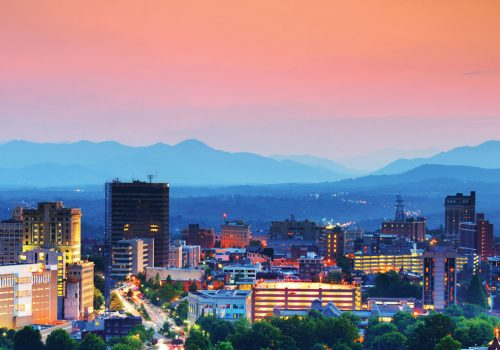 Skyline of Asheville with downtown and mountains