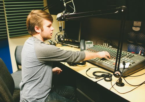 Student in the Blue Echo studio