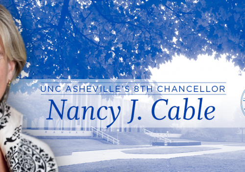 Graphic with Nancy J. Cable headshot and Ramsey Library in background