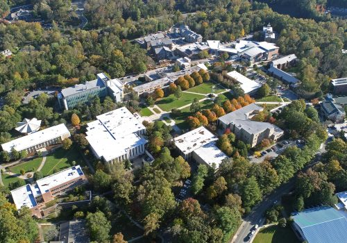 Aerial photo of UNC Asheville's campus