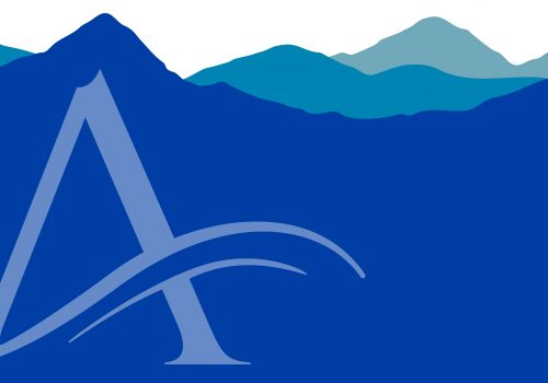 Mountains graphic with UNC Asheville A logo