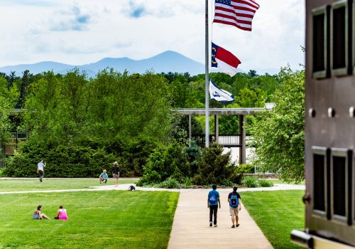 View of Mt. Pisgah and the Quad from Ramsey Library steps
