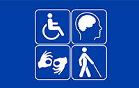Icons of a person in a wheelchair, sign language, the brain, and a blind person using a cane