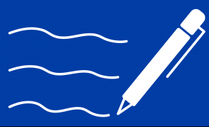 Icon of a pen with writing