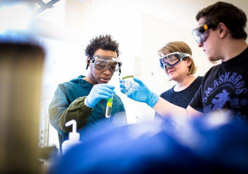 Sally Wasileski in the lab