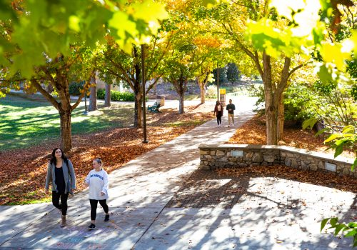Students walking outside Karpen Hall at UNC Asheville