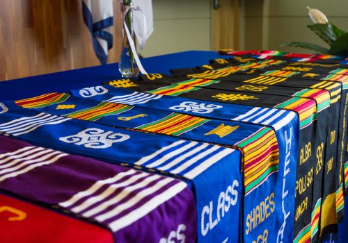 Graduation stoles on a table