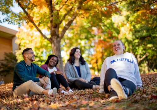 Students sitting on campus in fall