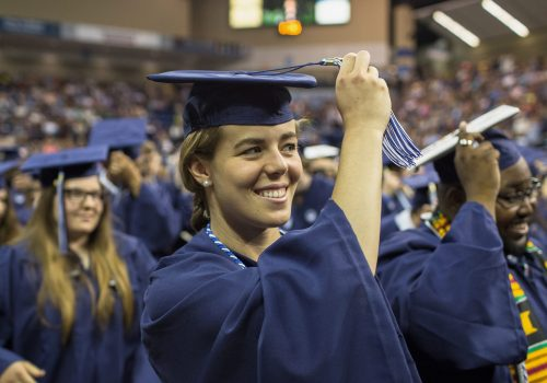 Student turning tassel at Commencement
