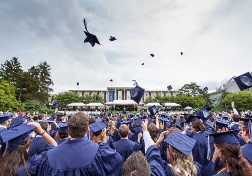 Hat toss at commencement